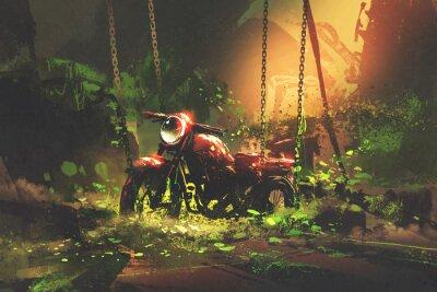 Obraz Opuštěná rezavá motorka v zarostlé vegetaci, digitální umělecký styl, kresba malby