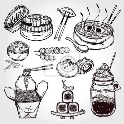 Obraz Orientální potraviny vektor sadu.