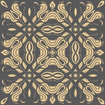 Obraz Orientální zlatý vzor s arabesky a květinové prvky. Tradiční klasický ornament