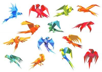 Obraz Origami paper models of parrots