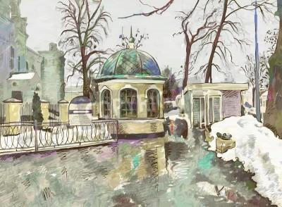 Obraz original digital painting of winter cityscape  Modern Impressionism