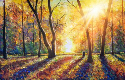 Obraz Original hand painted autumn oil painting on canvas. Sunny autumn dark trees in gold autumn forest park wood alley impressionism art