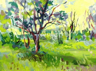 Obraz Original oil painting landscape with tree