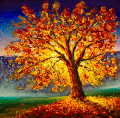 Obraz Original oil painting on canvas art. Sunny autumn tree. Modern impressionism. Autumn gold yellow orange red tree in sun light landscape expressionism artwork oil acrylic painting