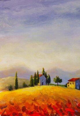 Obraz Original oil painting on canvas beautiful sunset in Tuscany artwork; Italy landscape Modern art illustration.