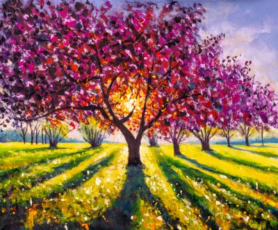 Obraz Original oil painting sunny landscape on canvas. Beautiful early spring, spring landscape. Modern impressionism painting.