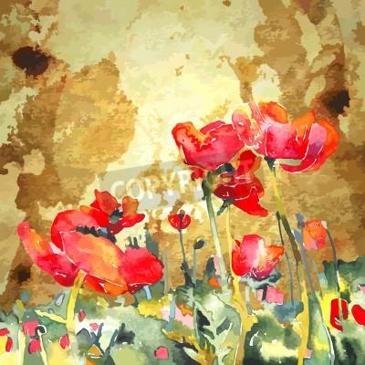 Obraz Originální akvarel mák květiny v zlaté pozadí