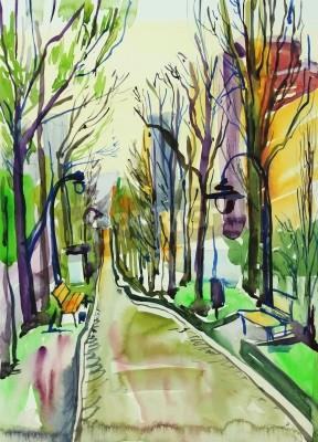 Obraz Originální akvarel z městského parku