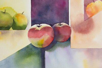 Obraz Originální akvarel, zátiší, jablko designu.