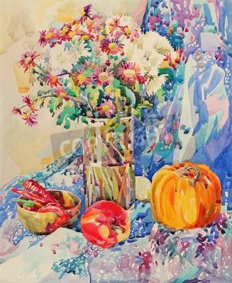 Obraz Originální akvarel zátiší s květinami, dýně, jablka, textil a feferonkou, impresionistické malby, vektorové ilustrace