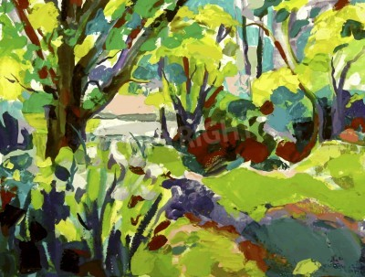 Obraz Originální olejomalba krajina se stromem