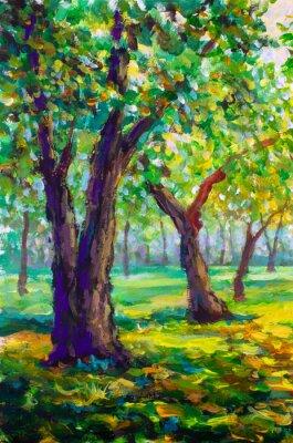 Obraz Originální olejomalba, moderní styl. Velké velké stromy duby v lesním parku - slunná zelená jarní krajina