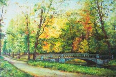 Obraz Originální olejomalba Most v lese