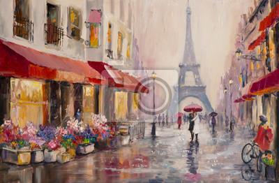 Obraz Originální olejomalba na plátně - Paříž - Eiffelova věž - Párek milenců pod deštníkem - Modern Art