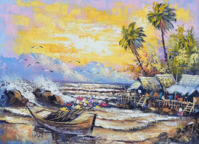 Obraz Originální olejomalba na plátně - staré rybářské lodi v přístavu