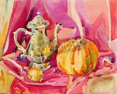 Obraz Originální ručně akvarel malování zátiší se stříbrným čajové konvice a dýně, výtvarné kompozice, vektorové ilustrace