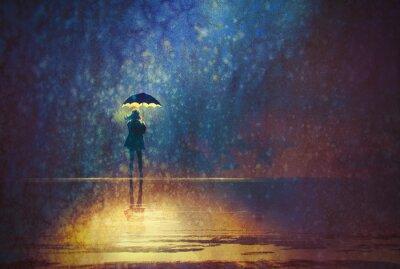 Obraz osamělá žena pod deštníkem světla ve tmě, digitální obraz