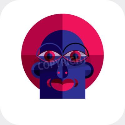 Obraz Osobnost tvář barevné vektorové ilustrace z geometrických obrazců. Plochý design image, kubismus stylu.