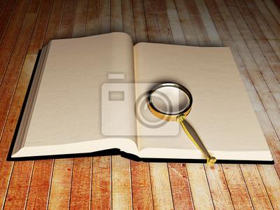 otevřená kniha a lupa