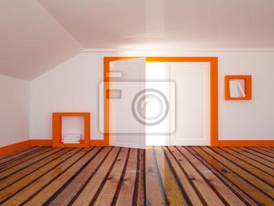 Otevřené dveře v místnosti, 3d
