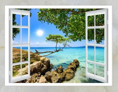 Obraz otevřené okno výhled na moře dobrého počasí v létě