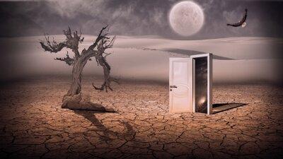 Obraz Otevřete dveře ukázat nějak poloprůhlednou prostor scénu stráň