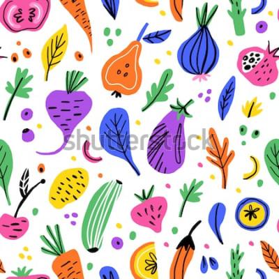 Obraz Ovoce a zelenina plochý ručně tažené bezešvé pattern. Zdravá výživa kreslený textura. Organické potraviny skandinávské ilustrace. Dieta skica barevné obrázky. Kuchyňský textil, pozadí vektor výplň