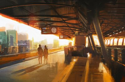 Obraz painting showing couple waiting a train on the station