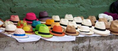 Obraz Panama klobouky stanoveny k prodeji za trh pod širým nebem v Bogota Col