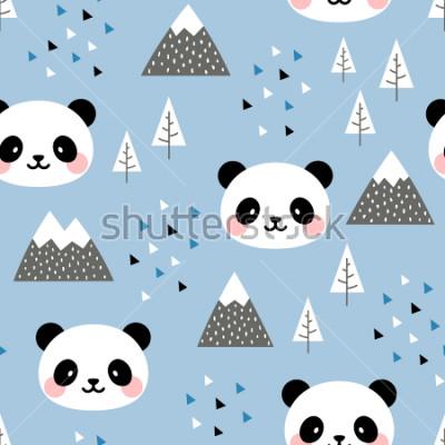 Obraz Panda vzor bezešvé pozadí, skandinávský Šťastný roztomilý panda v lese mezi horský strom a mrak, kreslený Panda medvědi vektorové ilustrace pro děti severský pozadí s trojúhelníkem tečky  t