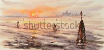 Obraz Panorama benátské laguny při západu slunce. Obrázek vytvořen s akvarely.