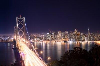 Obraz Panorama di San Francisco Bay Bridge e di notte