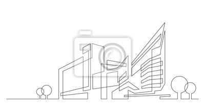 Obraz panorama města abstraktní architektura se stromy - jediná čára vektorové grafiky na bílém pozadí