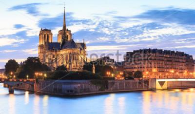 Obraz Panorama ostrova Citovat s katedrálou Notre Dame de Paříž v Paříži, Francie.