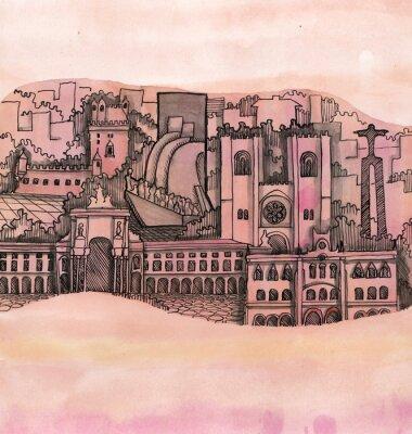 Obraz panoramatický výhled na Lisabon City ruky nakreslen na tapetu izolovaných na barevném pozadí