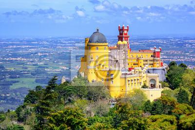 Panoramatický výhled Pena paláce, Sintra, Portugalsko