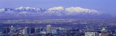 Obraz Panoramatický západ slunce ze Salt Lake City s sněhu limitován pohoří Wasatch