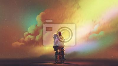 Obraz pár v lásce jezdí na kole proti noční obloze s barevnými mraky, digitální umělecký styl, ilustrace malování