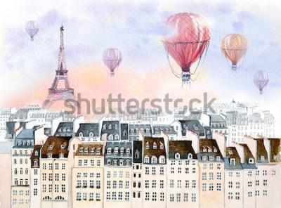 Obraz Paříž s horkovzdušným balónem