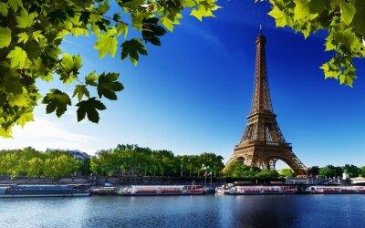 Obraz pařížské Eiffelovy Francie River Beach stromy