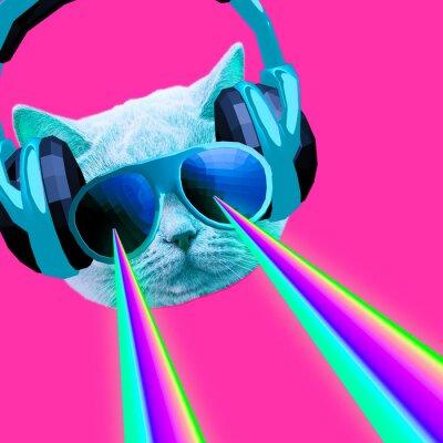 Party dj Kočka s duhovými lasery z očí. Minimální umění koláže