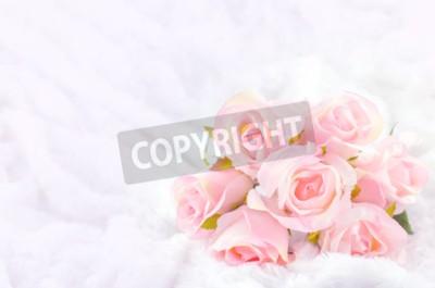 Obraz Pastel Coloured Umělá Pink Rose Svatební Svatební kytice na bílém pozadí kožešin s jemným vintage tónem