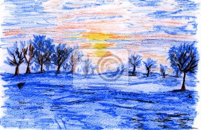 pastelka ilustrace, Zimní krajina