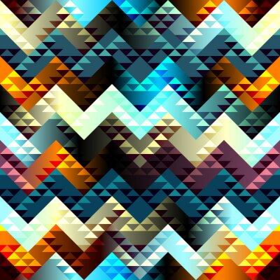 Obraz Pattern in aztecs style on chevron background.