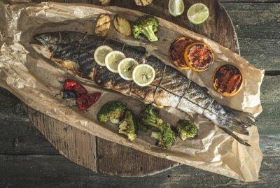 Obraz Pečený losos a zeleniny