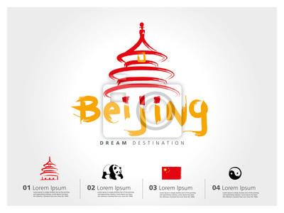 Obraz Peking set cestování, Čína, typografie