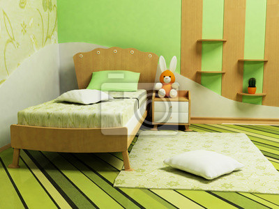 Pěkná zelená místnost pro děti