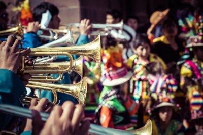 Obraz Peruánské tanečníci na přehlídce v Cusco.