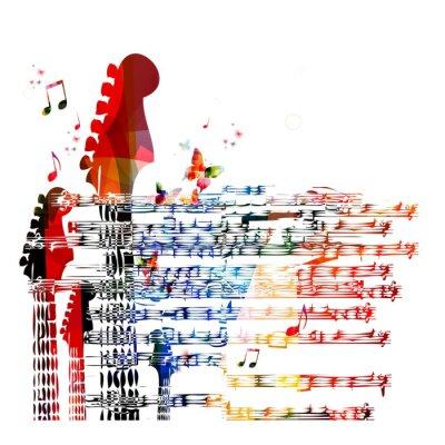Obraz Pestrý hudební kytara na pozadí. Vektor