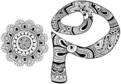 Obraz písmeno P zařízeny ve stylu mehndi
